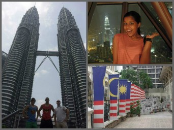 From left (clockwise): The three posers in front of the Petronas Towers; me at the top of KL Tower; a beautiful representation of the Malaysian flag.  KL Tower pic by: Juan Da Silva Petronas Towers and flag pics by: Divania Timmal