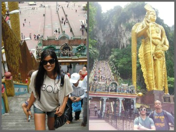 Posing in front of the monolithic Lord Murugan statue and exploring the beautiful Batu Caves after climbing the 272 steps to the top. Left pic by: Juan Da Silva Right pic by: Divania Timmal