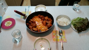 Our first attempt at Dakgalbi using a sauce bought at Homeplus. Turned out great! Pic by: Div